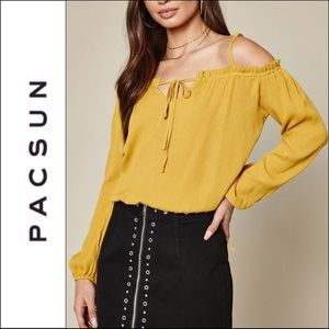 Pacsun LA Hearts Yellow Keyhole Off Shoulder Top